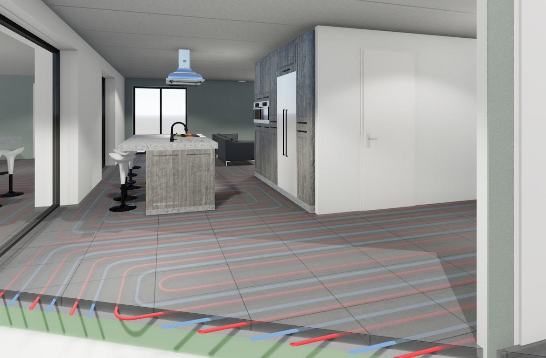 Impressie van de installatie van vloerverwarming in de keuken