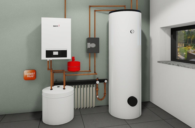 Afbeelding van de warmtepomp installatie in een woning