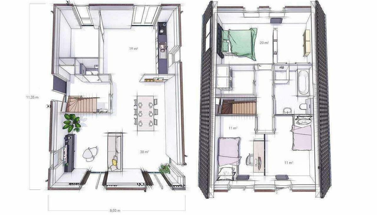 Schets van de begane grond en eerste verdieping van de WinWin woning