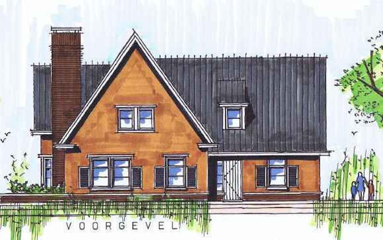 Vooraanzicht van een schets van een woning