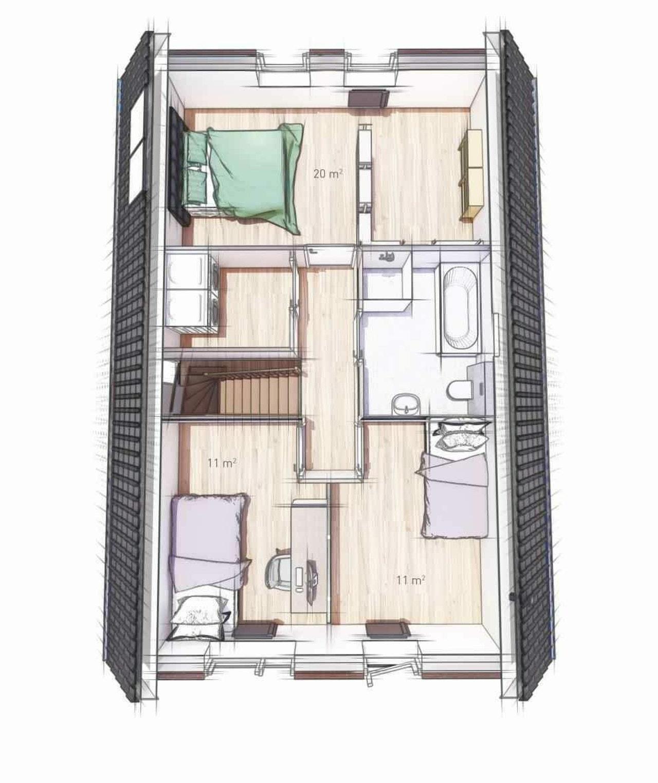 Plattegrond van de eerste verdieping van de WinWin woning in basisuitvoering