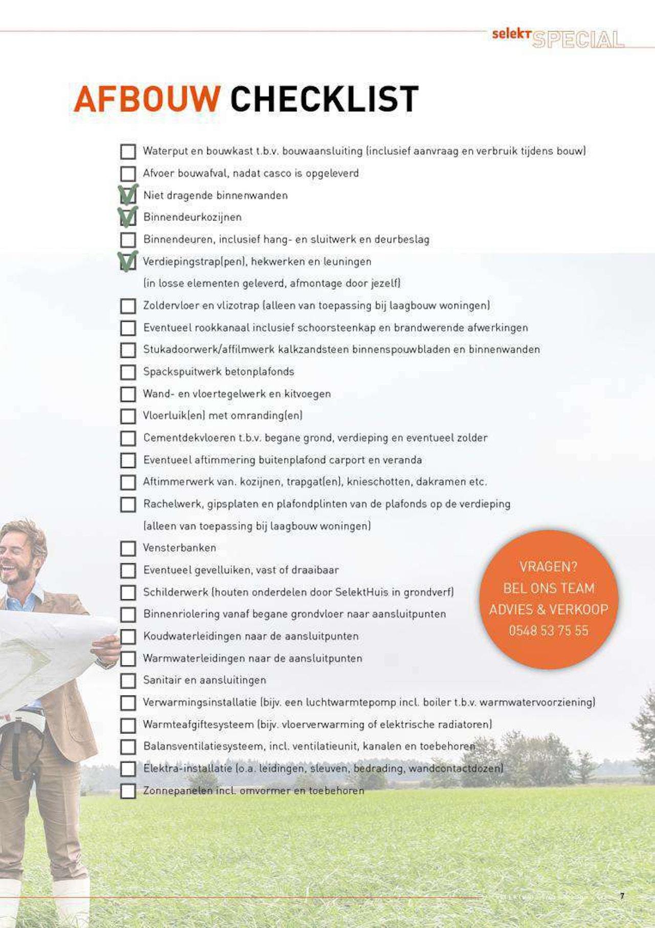 Checklist voor de afbouw van een woning