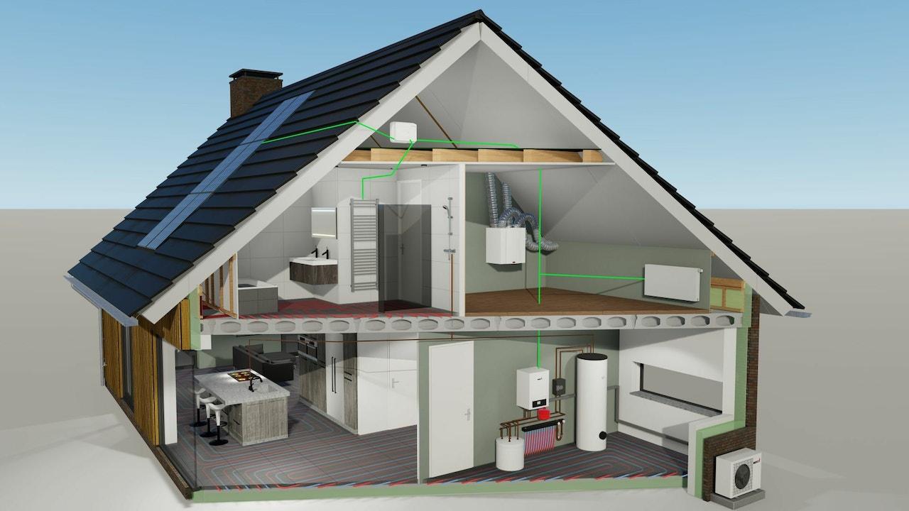 Doorsnede van een energiezuinig huis