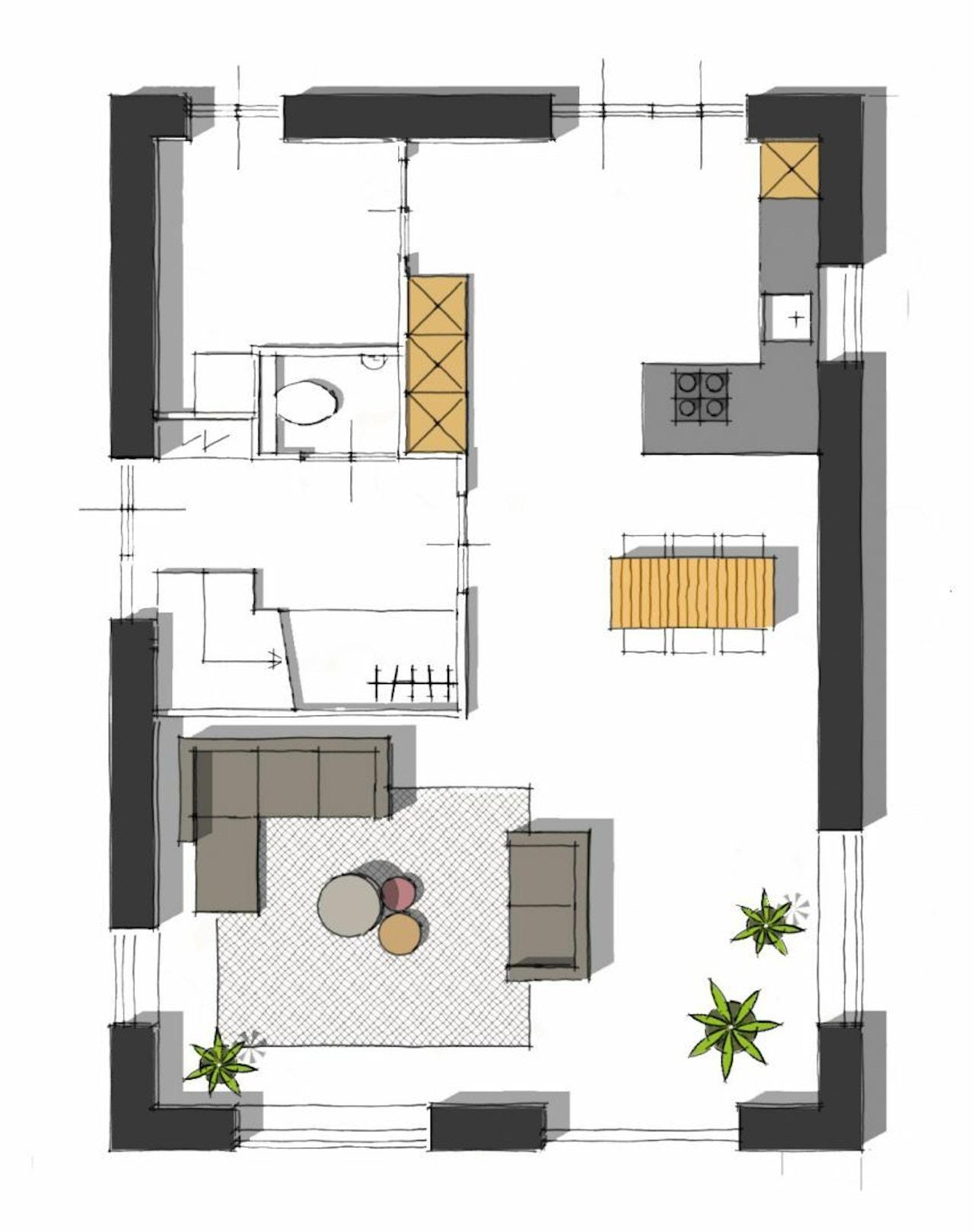 Plattegrond van de begane verdieping van het basismodel Eiger