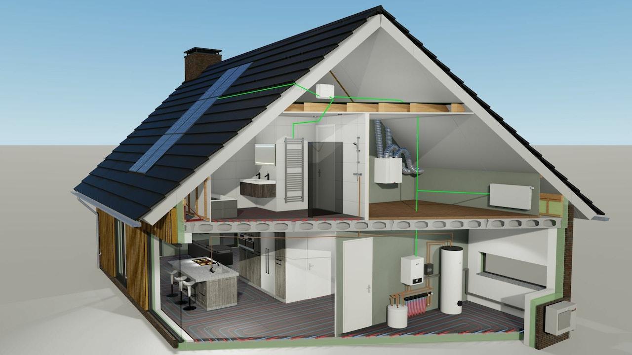 Doorsnede van een energiezuinig woning
