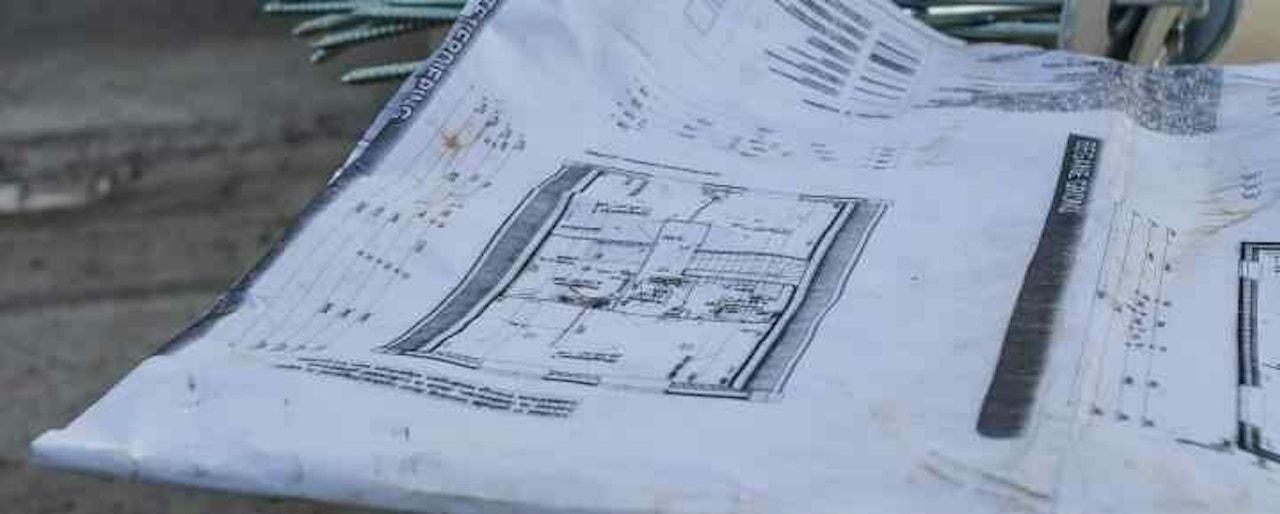 Een gebruikte bouwtekening van een gerealiseerde woning