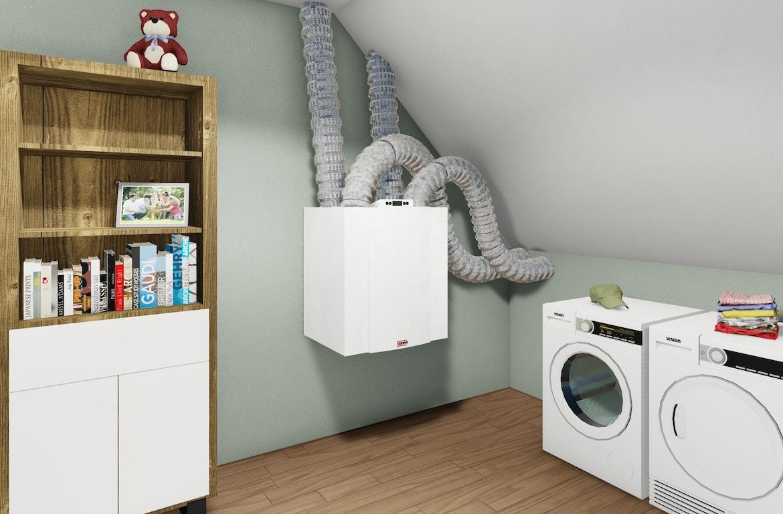 Afbeelding van het WTW-systeem in een woning